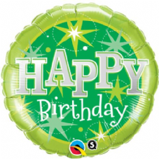 Happy Birthday Green Sparkle Foil Helium Balloon